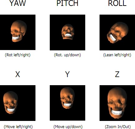 YAW: sideways rotation. PITCH: vertical rotation. ROLL: Tilting the head side to side. X, Y and Z: Moving the entire head horizontally, vertically, and closer or farther away.